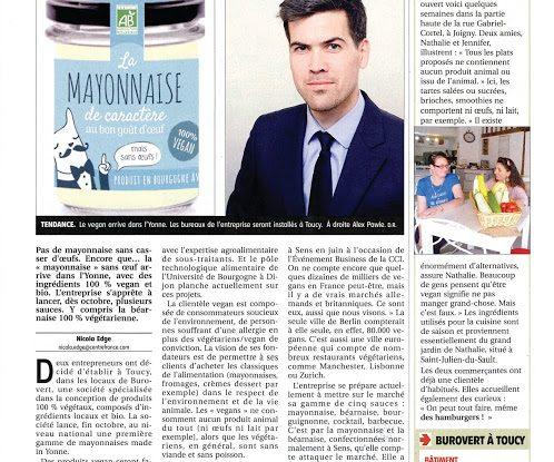 Article sur Vegan de Bourgogne, start-up installée à Burovert® Toucy